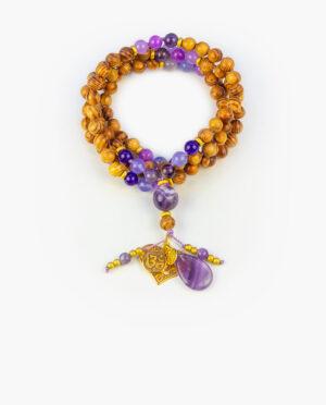 Japamala de piedras y madera Aumjoia Blend Corazón Púrpura