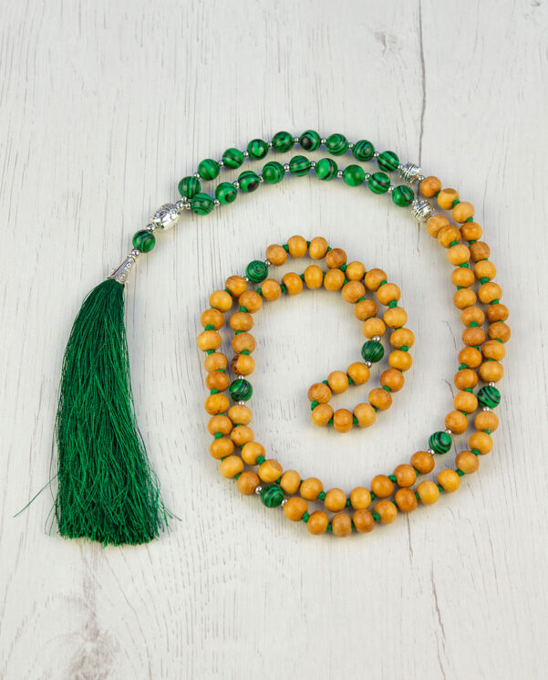 Sandalwood & malachite stone