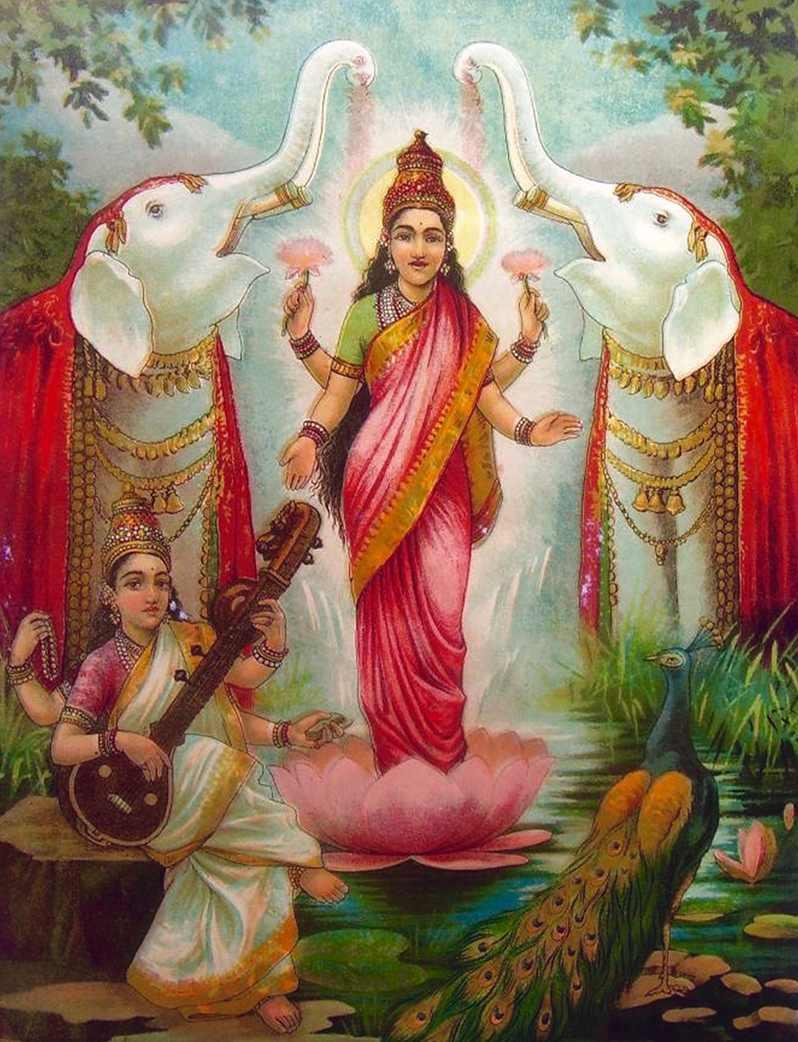 Laksmí, la Diosa Madre de la prosperidad espiritual y material - Gajalakshmi y Sarasvati