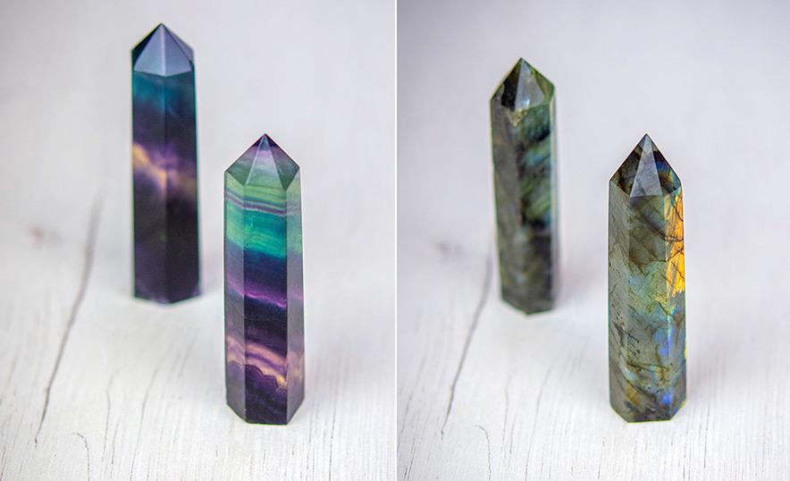 Descubre el poder las puntas de cuarzo y otros cristales generadores - Fluorita y Labradorita