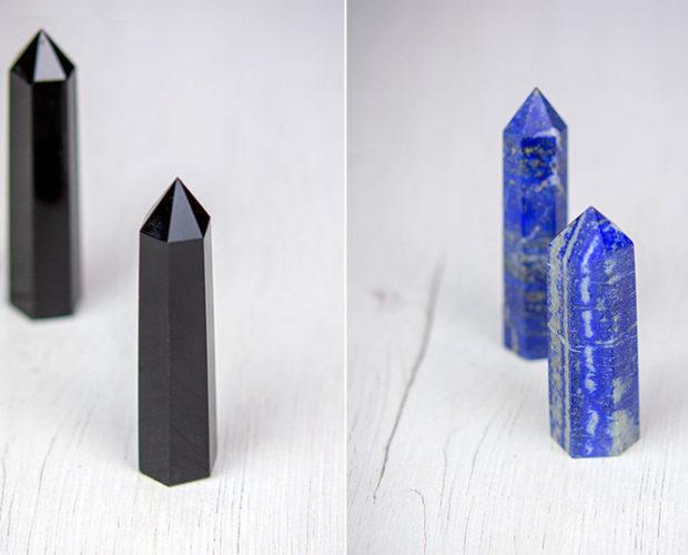 Descubre el poder las puntas de cuarzo y otros cristales generadores - Obsidiana y Lapislazuli